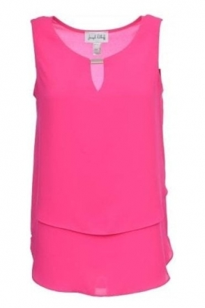 Double Layer Chiffon Keyhole Top (Pink) - 181293
