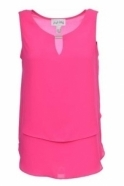 Joseph Ribkoff Double Layer Chiffon Keyhole Top (Pink) - 181293