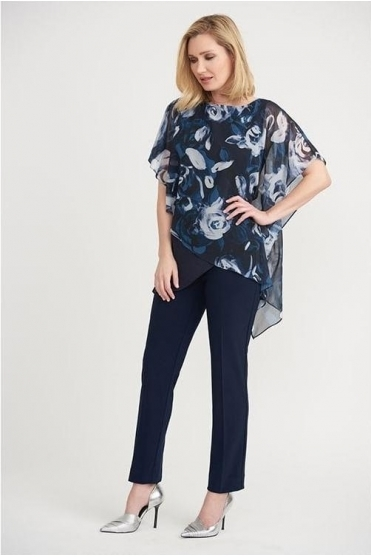 Double Layer Floral Chiffon Detail Top - Midnight - 203158