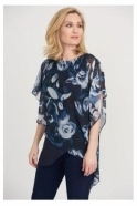 Joseph Ribkoff Double Layer Floral Chiffon Detail Top - Midnight - 203158