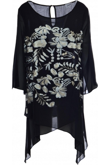 Double Layer Floral Embroidered Tunic - 184796