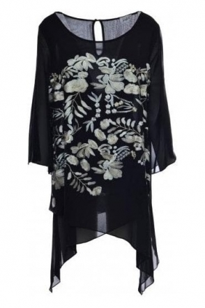 Double Layer Floral Embroidered Tunic (Black) - 184796
