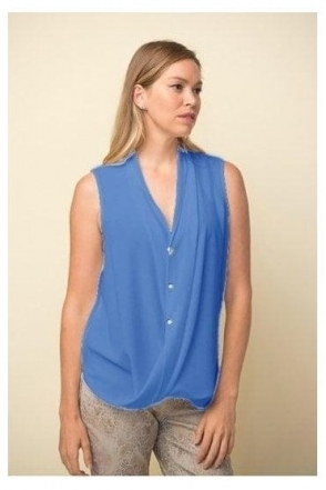 Drape Hemline Sleeveless Blouse - Aegean Sea - 211262