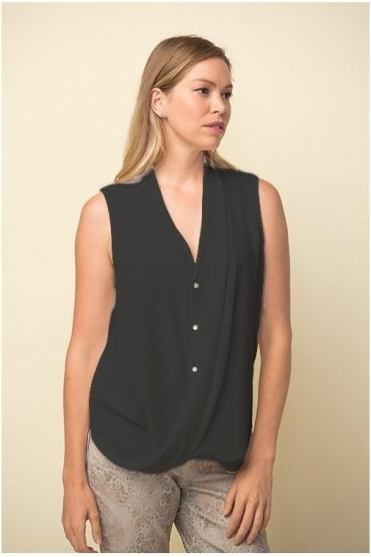 Drape Hemline Sleeveless Blouse - Black - 211262