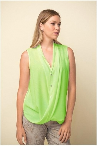 Drape Hemline Sleeveless Blouse - Limelight - 211262