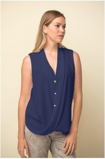 Drape Hemline Sleeveless Blouse - Midnight Blue - 211262