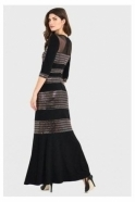 Joseph Ribkoff Embellished Detail Full Length Dress - Black/Rose Gold - 194548