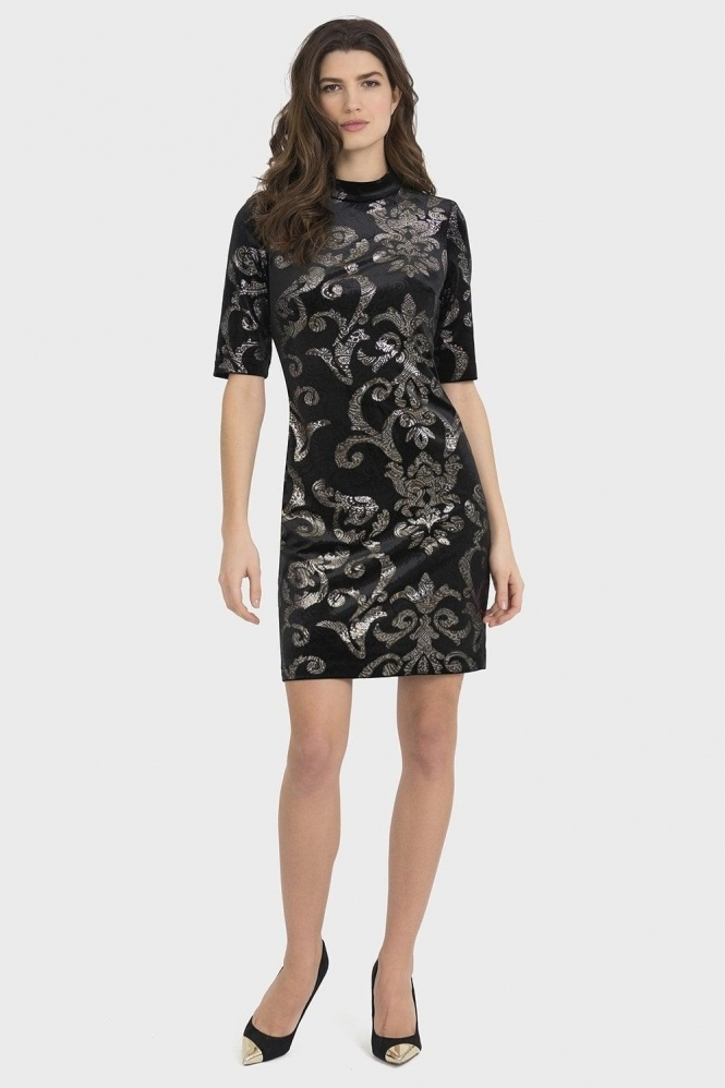 Joseph Ribkoff Embossed Paisley Print Dress - Black/Silver - 194513