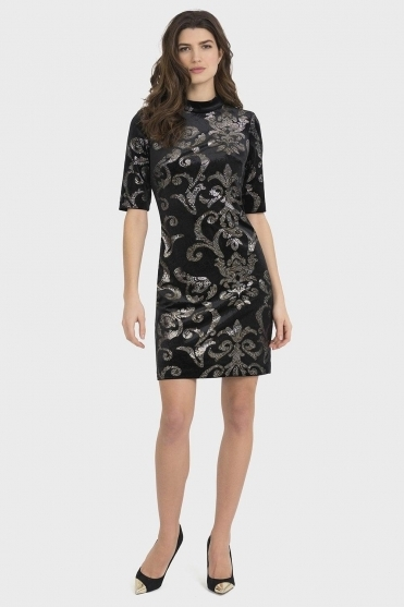 Embossed Paisley Print Dress - Black/Silver - 194513