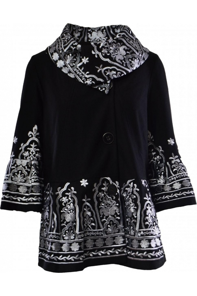 Joseph Ribkoff Embroidered Detail Jacket (Black) - 183517