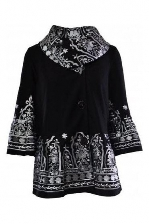 Embroidered Detail Jacket (Black) - 183517