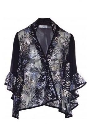 Embroidered Flared Sleeve Jacket (Black) - 183629
