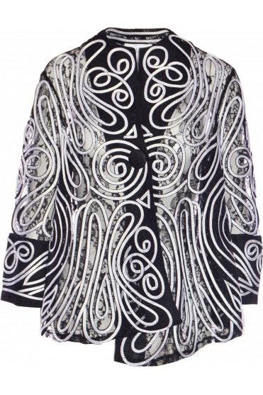 Embroidered Lace Jacket (Black/White) - 191991