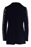 Joseph Ribkoff Embroidered Sparkle Mock Two Piece (Black) - 184825