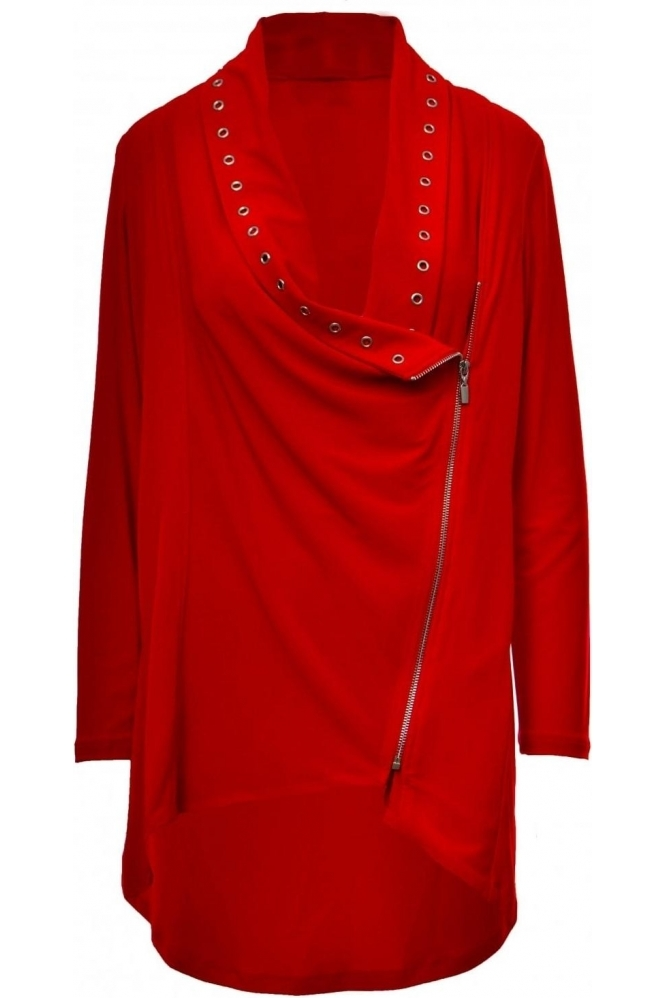 Joseph Ribkoff Eyelet Detail Zip Cover Up (Red) - 183146