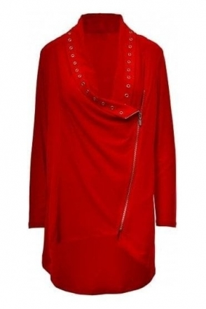 Eyelet Detail Zip Cover Up (Red) - 183146