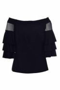 Joseph Ribkoff Flare Mesh Off The Shoulder Blouse (Black) - 182410