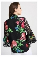 Joseph Ribkoff Floral and Polka Dot Tie Neck Blouse - Black/Multi - 201323