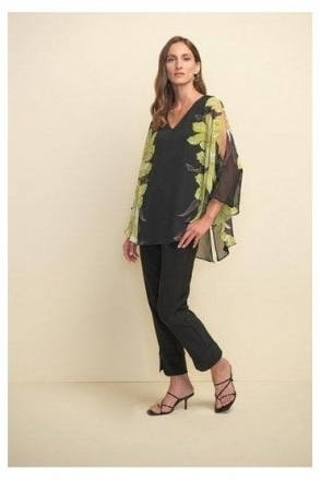 Floral Chiffon Detail Top - Black/Limelight - 211030