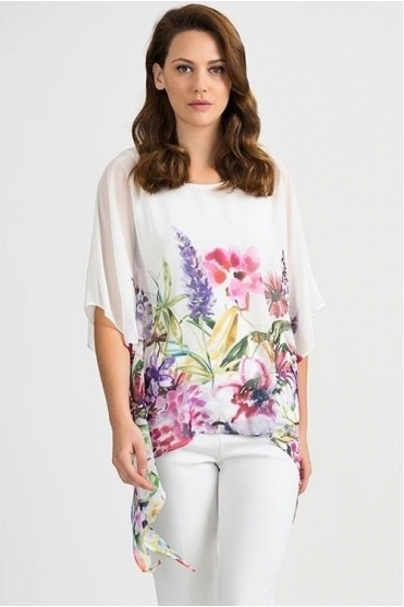 Floral Chiffon Overlay Blouse - White/Multi - 201449