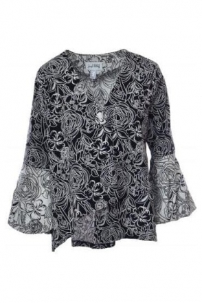 Floral Embroidered Asymmetric Jacket (Black/White) - 182525