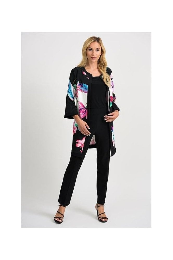 Joseph Ribkoff Floral Print Cover Up Jacket - Black/Multi - 201292