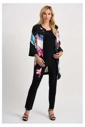 Floral Print Cover Up Jacket - Black/Multi - 201292