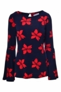 Joseph Ribkoff Floral Print Flare Blouse (Navy/Red) - 182562