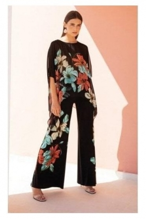 Floral Print Flared Pants (Black) - 191635