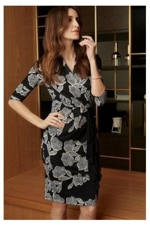 Floral Print Frill Detail Dress - Black/Vanilla - 203312