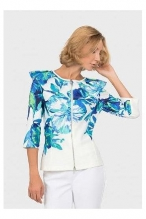 Floral Print Frill Jacket - 192705