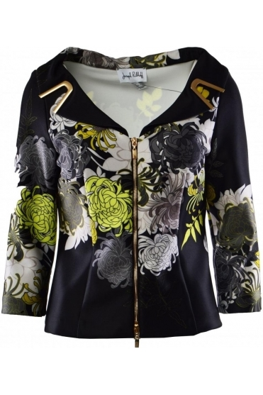 Floral Print Gold Zip Up Jacket (Black/Green) - 191704