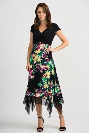 Floral Print Hanky Hem Dress - Black - 201134