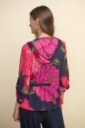 Joseph Ribkoff Floral Print Hooded Two Piece - Black/Multi - 211213