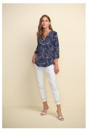 Floral Print Keyhole Detail Top - Navy/White - 211377