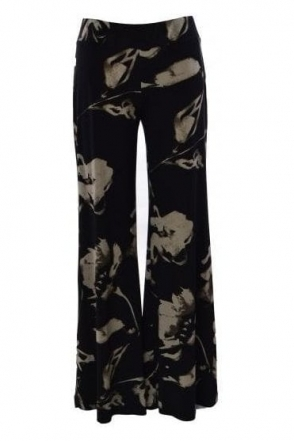 Floral Print Palazzo Pants (Black/Taupe) - 183559
