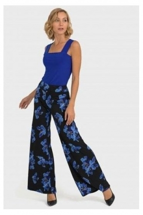 Floral Print Pull on Trousers - Black - 193690