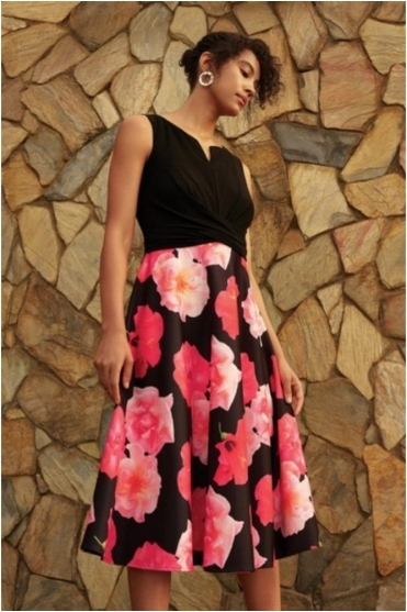 Floral Print Ruched Detail Dress - Black/Pink - 201289