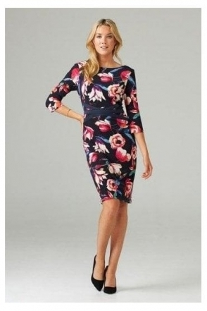 Floral Print Satin Band Detail Dress - Midnight/Multi - 203485