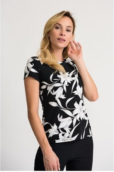 Floral Print Short Sleeve Top - Black/Vanilla - 202189