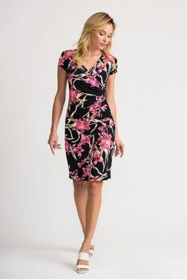Floral Print Wrap Dress - Black/Pink - 202450
