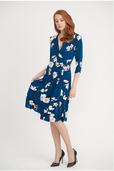 Floral Print Wrap Dress - Teal/Multi - 203551