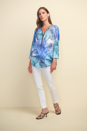 Floral Print Zip Detail Top - White/Blue - 211335