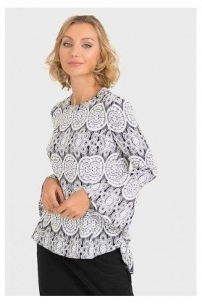 Floral Textured Top - Black/White - 193828