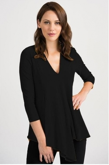 Front Panel Drape Top - Black - 161066J