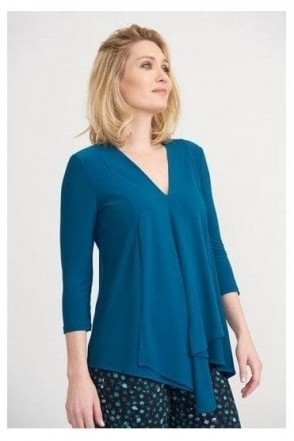 Front Panel Drape Top - Peacock Blue - 161066J