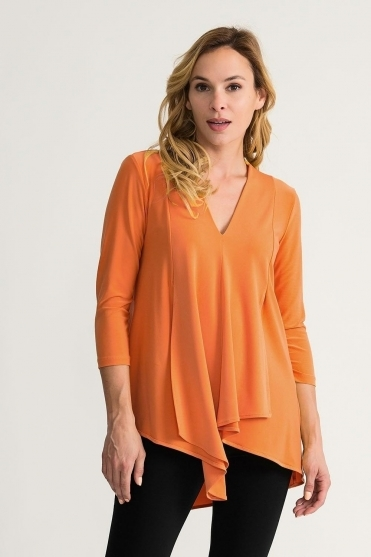 Front Panel Drape Top - Tangerine - 161066M-3775