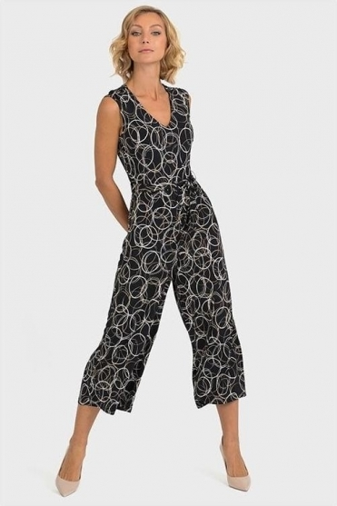 Geometric Print Cropped Jumpsuit - Black/Beige - 193686
