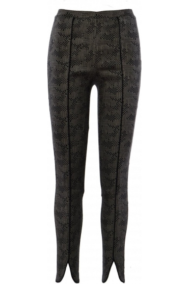 Geometric Print Slim Fit Trousers (Black/Taupe) - 183525