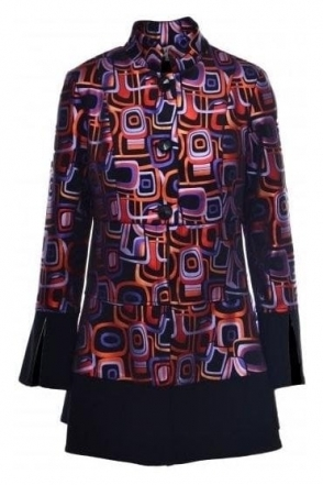Geometric Print Swing Jacket - 184719